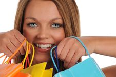Young Woman S Portrait With Shopping Bags Stock Images