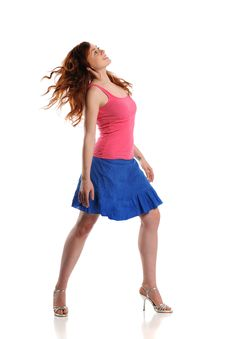 Free Young Woman Wearing A Blue Dress And Pink Top Stock Photos - 23222863