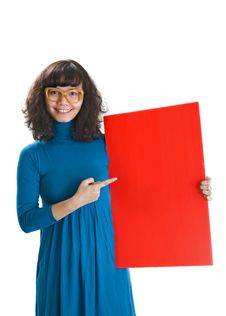 Free Woman Hold Red Banner Royalty Free Stock Photos - 23224288