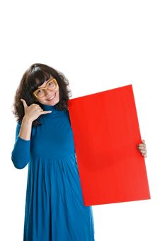 Free Woman Hold Red Banner Royalty Free Stock Photos - 23224298