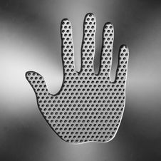 Handprint From Metal Royalty Free Stock Images