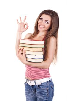 Portrait Of A Young Woman With Books Isolated Royalty Free Stock Images