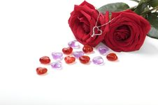 Free Valentine Necklace And Rose Royalty Free Stock Photo - 23229865