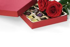 Free Valentine Ring, Chocolate And Roses Royalty Free Stock Photos - 23229898