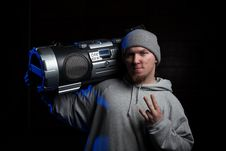 Free Man With Boombox Stock Photography - 23235162