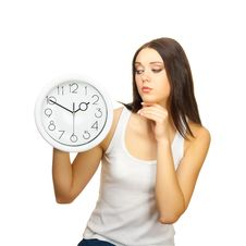 Free The Girl With Clock Has Reflected Stock Photography - 23236422