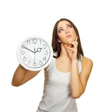 Free The Girl With Clock Has Reflected Royalty Free Stock Images - 23236429