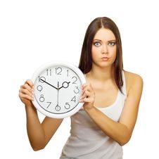 Free The Girl With Clock Becomes Angry Royalty Free Stock Image - 23236436