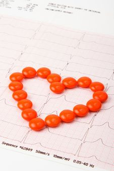 Heart Of Pills On Electrocardiogram Royalty Free Stock Photo
