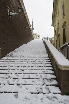 Free Ancient Steps Under Snow In Rome Center Stock Photos - 23248783