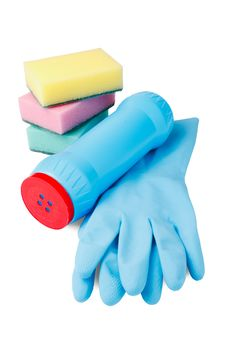 Set Of Cleaning, Rubber Glove, Plastic Bottle Stock Photos