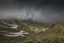 Dramatic Storm Cloud Scenery In High Mountains Stock Photos