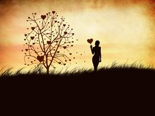 Free Silhouette Of A Girl With A Heart Stock Photos - 23255983