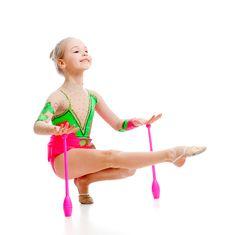 Free Pretty Girl Gymnast Doing Exercises Over White Stock Image - 23258301