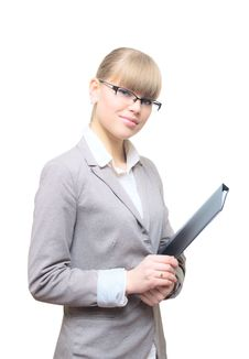 Free Business Woman Holding Folder Royalty Free Stock Image - 23259516