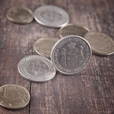 Free Coins On Table Stock Photography - 23260912