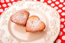 Free Heart Shaped Muffins In Vintage Plate Stock Images - 23264684