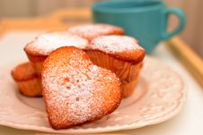 Free Heart Shaped Muffins In Vintage Plate Royalty Free Stock Image - 23264746