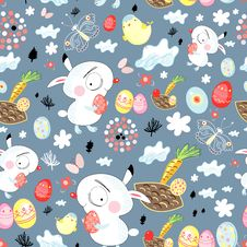 Pattern Of Easter Bunnies Stock Photo
