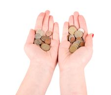 Free Hands Holding Many Coins Stock Image - 23265111