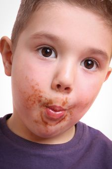 Beautiful Boy With Chocolate Stained Stock Photos
