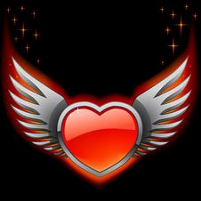 Free Glossy Red Heart With Iron Wings On The Black Royalty Free Stock Image - 23266356