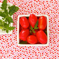 Free Cherry Tomatoes On Brightly Summer Fabric Royalty Free Stock Images - 23272109
