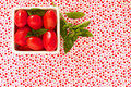 Free Cherry Tomatoes On Brightly Summer Fabric Royalty Free Stock Images - 23272129