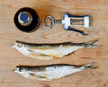 Free Dry Salty Fish And Beer Royalty Free Stock Image - 23279606