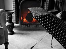 Free Umbrella Drying In The Fireplace Stock Photos - 23277063