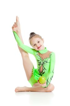Free Young Girl Gymnast With Apple Over White Royalty Free Stock Photography - 23279777