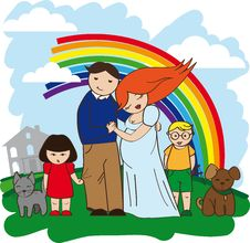 Free Happy Family Rich House Royalty Free Stock Image - 23281336