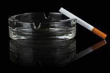 Free Cigarette And Glass Ashtray. Stock Image - 23285901