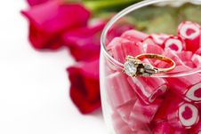 Free Diamond Ring And Candy In Wine Glass Royalty Free Stock Images - 23288129