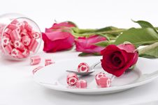 Free Candy On Dish With Rose Royalty Free Stock Image - 23288206