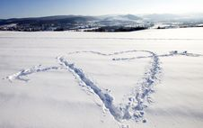 Free White Snow With Heart Shape Royalty Free Stock Image - 23289756