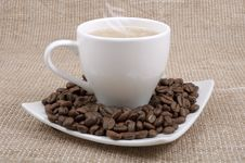 Free Coffee And Milk And Saucer With Grains Royalty Free Stock Photography - 23290807