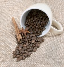 Free Coffee Is A Bob, The Sticks Of Cinnamon And Anise Royalty Free Stock Images - 23290879