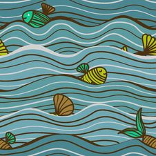Seamless Sea Pattern With Fish Stock Photography