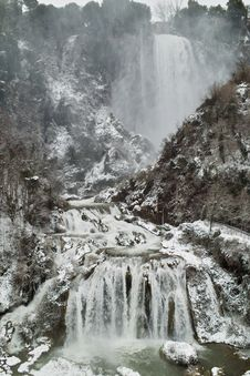 Marmore Waterfall In The Snow Stock Images