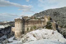 Free Snow-covered Ruins Of An Ancient Castle Stock Photography - 23296652