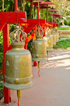 Free Big Metal Bells In Thai Temple Royalty Free Stock Images - 23297819