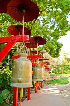 Free Row Of Metal Bells In Thai Temple Stock Image - 23298681