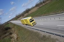 Free Truck Driv On Highway-straight Royalty Free Stock Images - 2330069