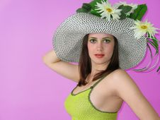 Beauty Smiling Girl With Hat Royalty Free Stock Photos