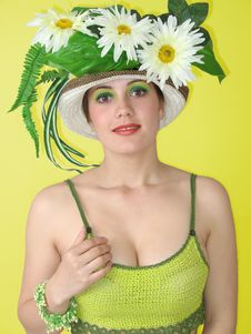 Free Beauty Smiling Girl In Her Hat Royalty Free Stock Photos - 2330148