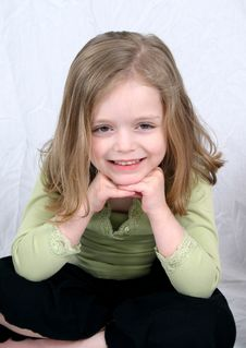 Free Little Girl Smiling On White Royalty Free Stock Photography - 2333537
