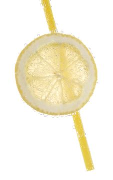 Free Slice Of Lemon, Plastic Straw Royalty Free Stock Photo - 2336145
