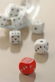 Free Many White Dices And A Red One Royalty Free Stock Images - 2336749