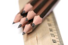 Free Sharp Pencils And Ruler Royalty Free Stock Photos - 2336768